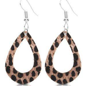 NEW Animal Print Open Teardrop Earrings Faux Fur